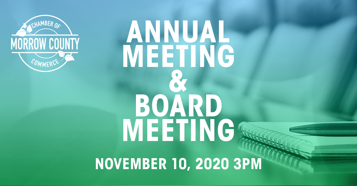 Chamber Annual Meeting AND Board Meeting - Nov 2020